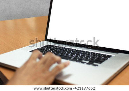 woman's hand typing with laptop computer notebook for working concept