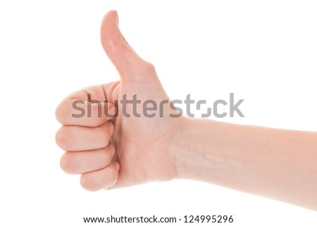 woman's hand with a variety of gestures on a white background - stock photo