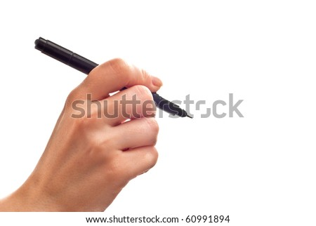 Woman's hand with black pen isolated on white - stock photo