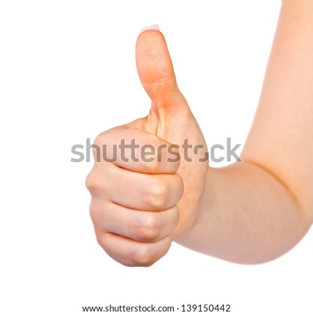 Woman's hand with thumb up