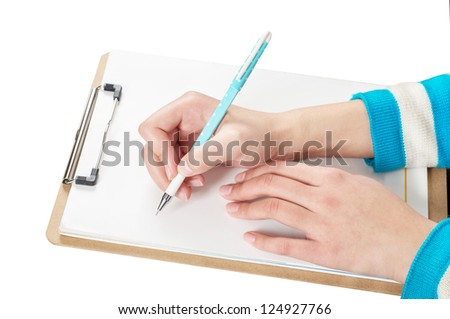 Woman's hand, writing blank folder