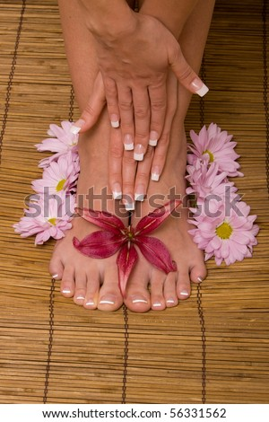 Woman's hands and feet with flowers - stock photo