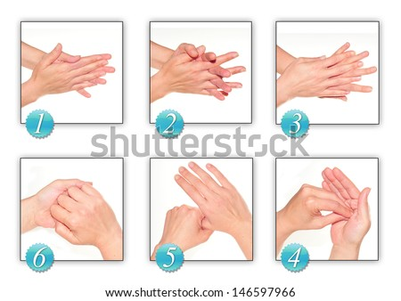 woman's hands, carrying out technique of hygiene with alcohol     - stock photo