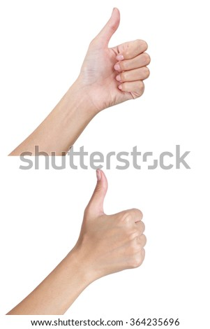 Woman's hands gesturing sign thumbs up front and back side, Isolated on white background.