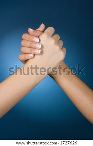 woman's hands high five - stock photo