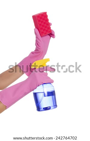 Woman's hands holding sprayer and cleaning sponge