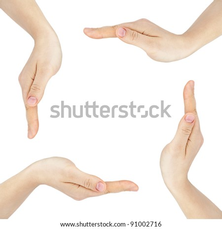 Woman's hands made circle on white background - stock photo