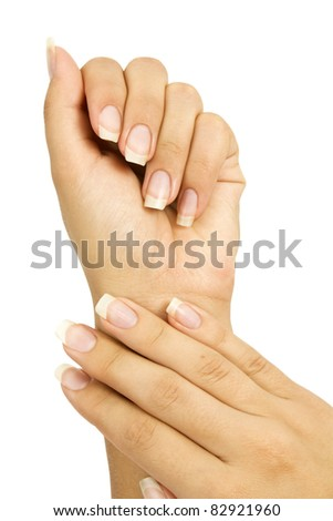 woman's hands on white background