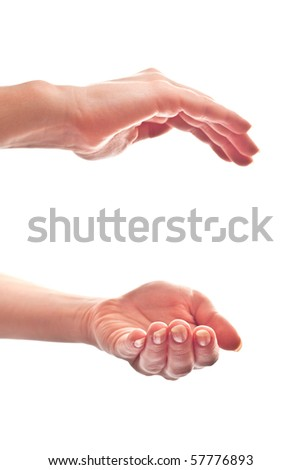 Woman's hands open. Isolated on white background - stock photo