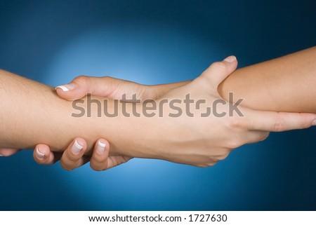 woman's hands show help gesture - stock photo