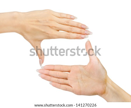 Woman's hands symbol that means frame on white background. - stock photo