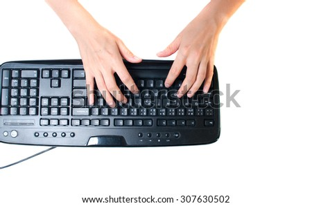 Woman's hands typing computer keyboard isolated on white - stock photo