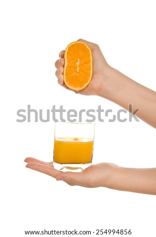 Woman's hands with orange fresh juice isolated on white - stock photo