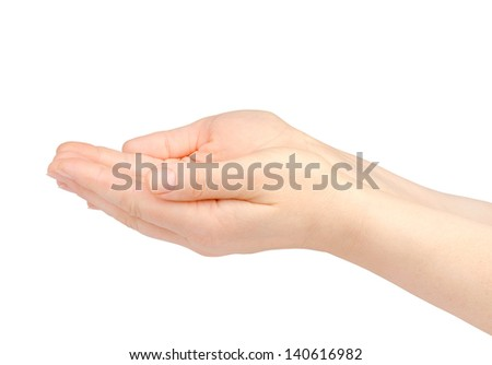 Woman's hands with palm up in a white isolated background - stock photo