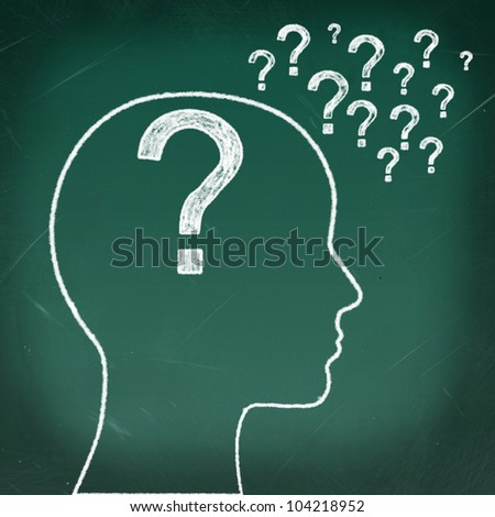 Woman's head with a question inside and question marks all over - stock photo