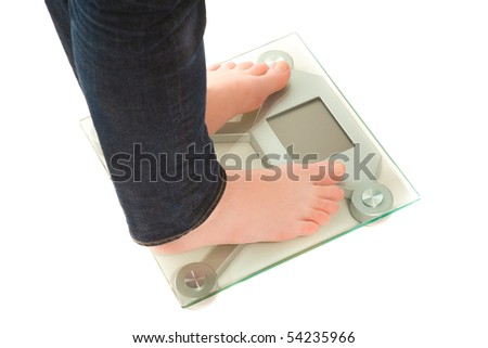 Woman's legs with weighing scales