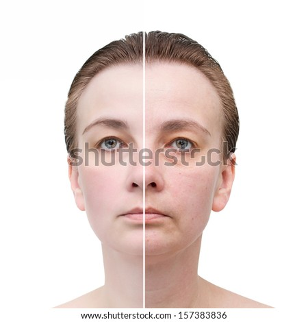 Woman's portrait isolated on white. Skin care.