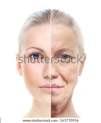 Woman's portrait isolated on white, 20,60 years old. - stock photo