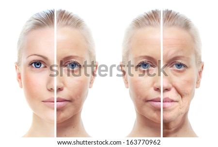 Woman's portrait isolated on white, 20,40,60 years old. - stock photo