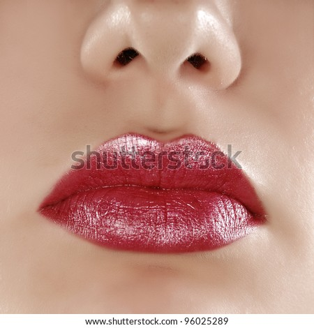 Woman's red lips - stock photo