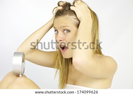 Woman sad and depressed being late having slept too much - stock photo