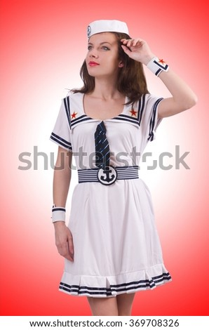 Woman sailor in marine concept - stock photo