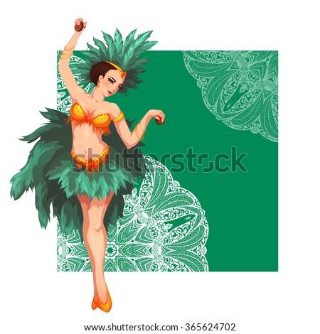 Woman samba dancer. Rio carnival. Illustration. - stock photo