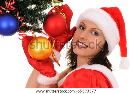 woman santa with christmas-tree isolated on white background