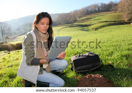 Woman scientist and environmental issues - stock photo