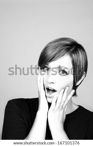 woman screaming out in the studio - stock photo