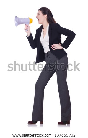 Woman screaming through loudspeaker on white