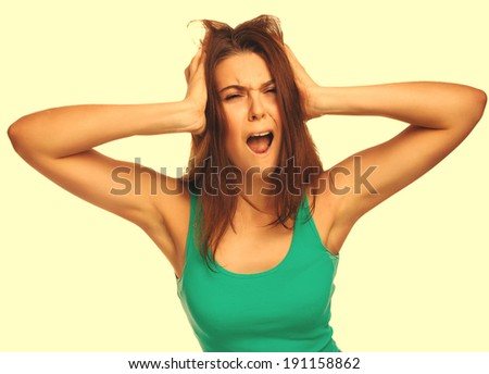 woman screaming wild hair opened her mouth prislanila hands to his head isolated on white background large cross processing retro - stock photo