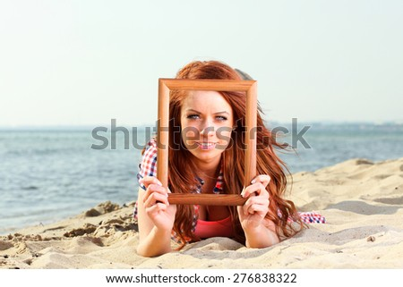 Woman sea sky vacation Holding Frame travel concept