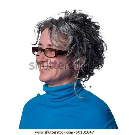 Woman seen smiling and greeting a friend - stock photo