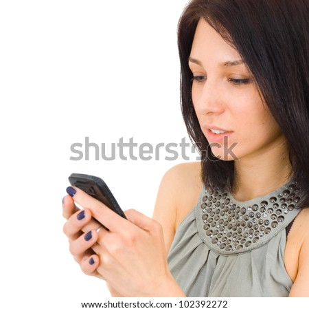 woman sending a sms on cell phone, isolated on white background