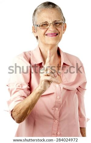 Woman Senior point at you . - stock photo