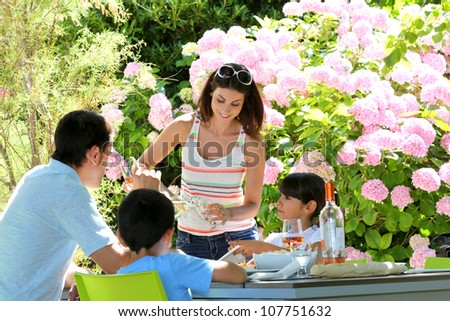 Woman serving water to family having lunch - stock photo