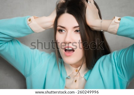 woman shocked anger - stock photo