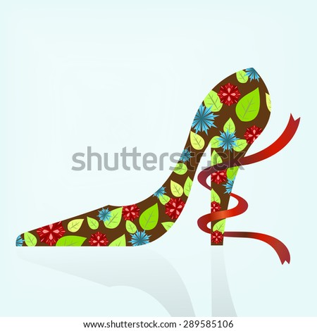 Woman shoe with flowers and leaves pattern illustration. - stock photo