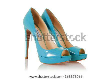 Woman shoes isolated on white - stock photo