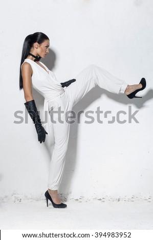 woman shoes studio - stock photo