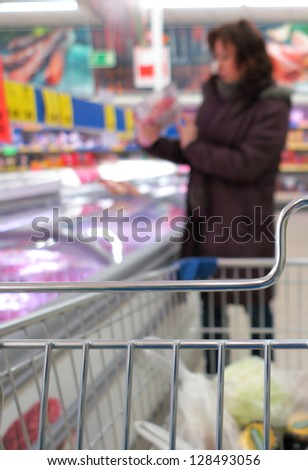 Woman shopping at the supermarket with cart - stock photo