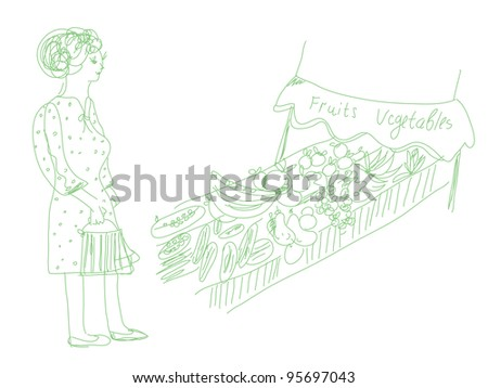 Woman shopping fruits and vegetables cartoon - stock photo