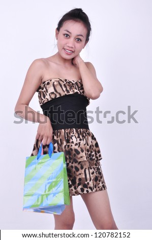 woman shopping, isolated on white background