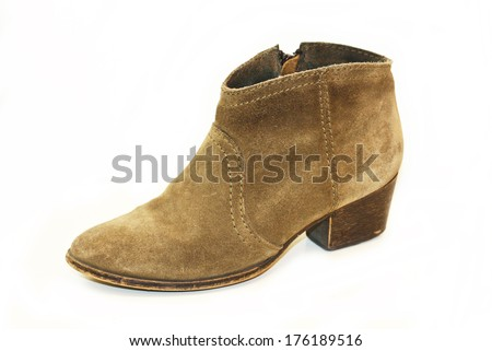 Woman short brown boots isolated on white background