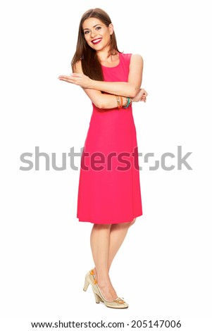 Woman show hand. Full body portrait. White background.