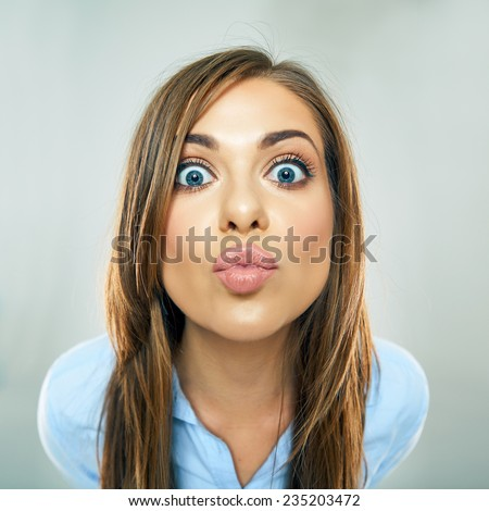 woman show kiss lips, face portrait of business woman. funny face isolated. - stock photo