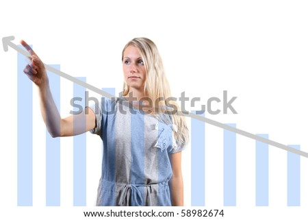 woman showing a graph