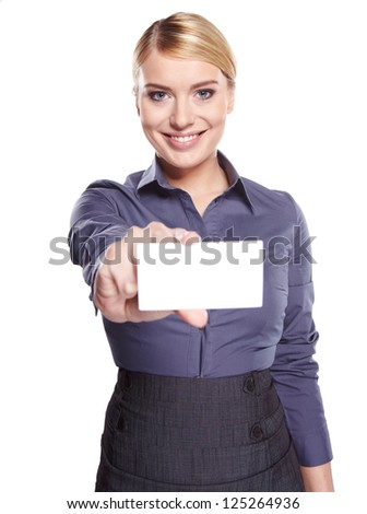 Woman showing business card - stock photo
