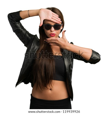 Woman Showing Finger Frame On White Background - stock photo